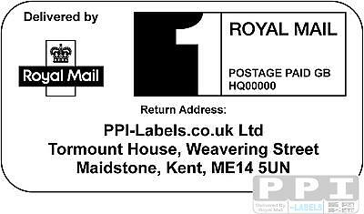 1000 x Royal Mail PPI Labels & Return Address. PPI-02-24 (24s)(1st or 2nd Class)