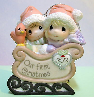 Precious Moments Dated 2012 First Christmas Together Ornament ~ Couple In Sleigh