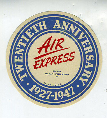 1927-1947  20th Anniversary Aviation Advertising Sticker for the Air Express