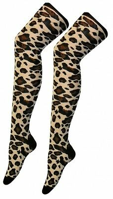 fb50d3b04f81a Ladies Over The Knee Leopard Print Socks Sox Fancy Dress Party Thigh High  Animal