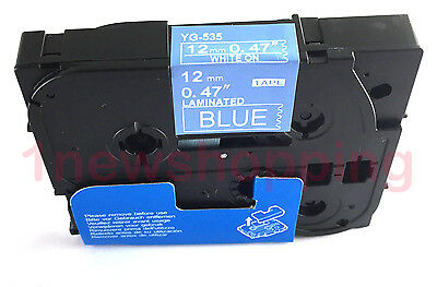 White on Blue Label Tape Compatible for Brother TZ TZe 535 Tze535 P-Touch 26.2ft