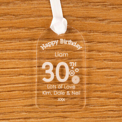 Personalised 30th Birthday Bottle Tag Clear Acrylic Gift Idea For Him New