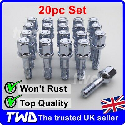 20 x ALLOY WHEEL BOLTS FOR MERCEDES BENZ E-CLASS (1985-03) W124 W210 NUTS [MB50]