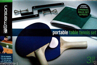 Emerson Portable Table Tennis Set,with Paddles,balls,net & Clamping Posts,3+,new