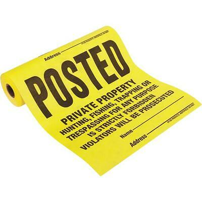 100 Posted No Hunting or Trespassing Signs -Tyvek Roll