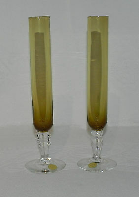 Swedish - Pr. Mid-Century Clear & Amber Bud Vases With Foil Label