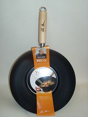 New Ken Hom Wok Stir Fry Non Stick Wooden Handle 27cm 10.5in