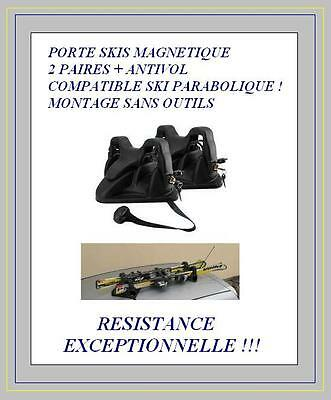 Porte Skis Magnetique Pour Deux Paires De Ski + Antivol Porte Ski Green Valley