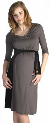 New Japanese Weekend Maternity Nursing Colorblock Gray & Black Side Sweep Dress
