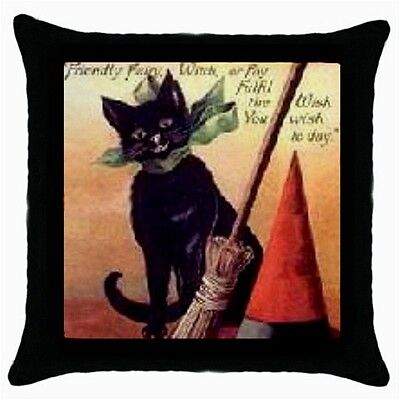 Halloween Black Cat Witches Hat Broom Throw Pillow Case