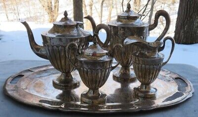 Maciel Mexico 5 Piece Sterling Silver Coffee Set Hand Hammered Sterling Tray WOW