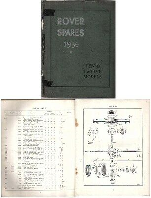 Rover P2 10 & 12 1934 Original Factory issued illustrated Spare Parts List
