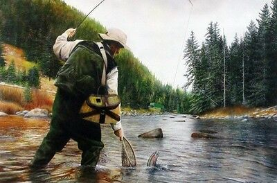 "Fishing the Gallatin By Kevin Daniel Trout  Art Print  18"" x 12"""