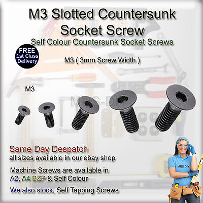 M3 3mm Self Colour (BLACK) Countersunk Socket Screws