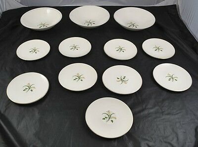 "Lot of 9 6"" Knowles Fine China Plates & 3 9"" Serving Bowls Yellow Flowers K4O19"