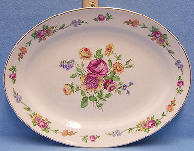 Large Oval Serving Platter Plate Edwin Knowles Semi Vitreous USA Made Flower