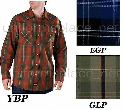 Dickies Shirt Mens Long Sleeve Plaid Shirts Snap Front Western Shirts WL364