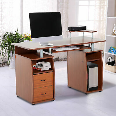 Home Office Computer Table PC Desk Work Station Drawer Monitor Printer Brown
