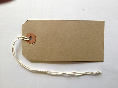 20 + 5 FREE Merit Medium Brown Buff Strung 96x48mm Tag Tie On Luggage Labels