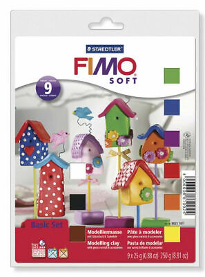 FIMO Soft Basic Set - 9 x 25g Blocks + Varnish,Tool,Mat