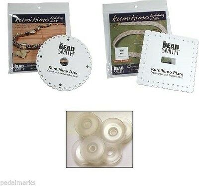 Craft KUMIHIMO KIT ~2 Braiding Disks (1 Round+1 Square) + 8 Bobbins + 40 ft CORD