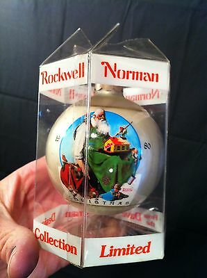 VTG 1980 NORMAN ROCKWELL SANTA CHRISTMAS 6TH ED. ORNAMENT SATURDAY EVENING POST