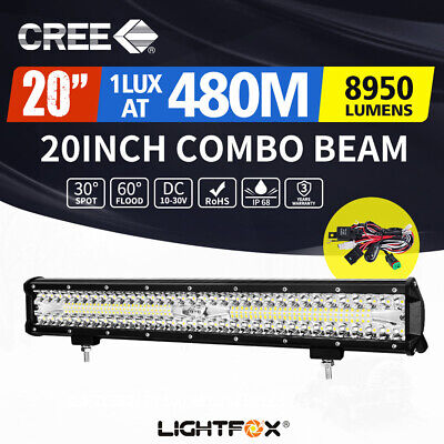 20inch CREE LED Light Bar Combo Work Driving Light + Wiring Loom Kit 12V 4WD