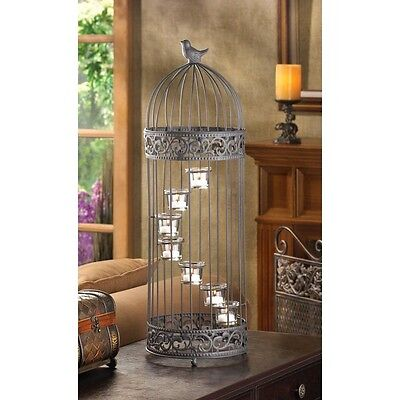 Beautiful Spiral Stepped Birdcage Staircase Candle Stand/Iron & Glass