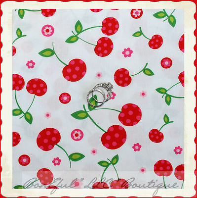 BonEful FABRIC FQ Cotton Quilt White Red Cherry Stem Fruit Yellow Daisy Flower S