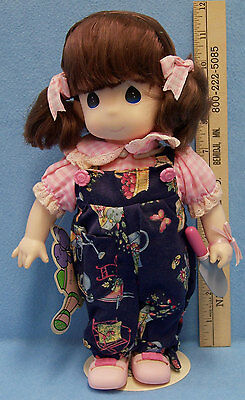 Precious Moments Doll Pansy July Birthday Month Stand Plastic Garden of Friends