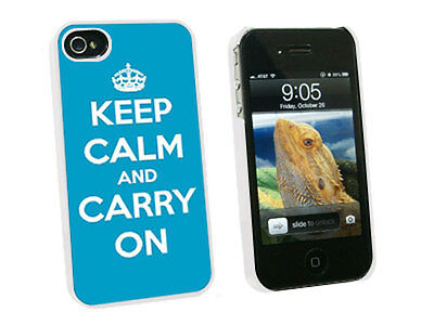 Keep Calm and Carry On Blue - Hard Protective Case for Apple iPhone 4 4S - White