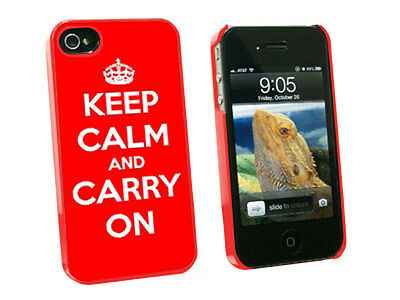 Keep Calm and Carry On Red - Hard Protective Case for Apple iPhone 4 4S - Red