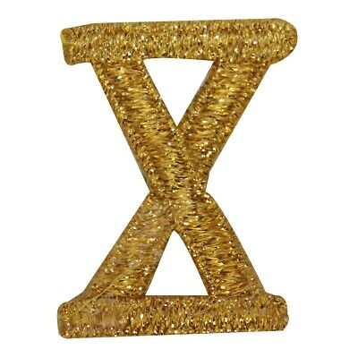 ID 1885 Roman Numeral X Patch Ten Gold Symbol Sign Embroidered Iron On Applique