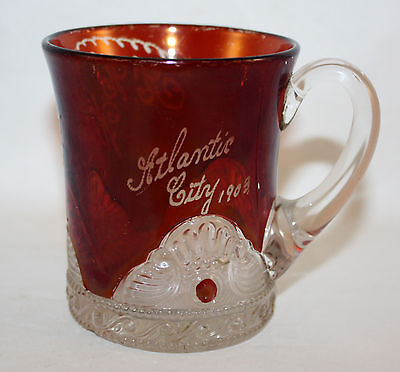 EAPG 1898 US GLASS COLORADO RUBY SOUVENIR MUG ATLANTIC CITY RARE