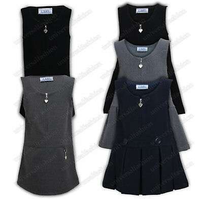 Girls Uniform Kids Pinafore School Wear Dress Sleeveless Zip Front Grey Black
