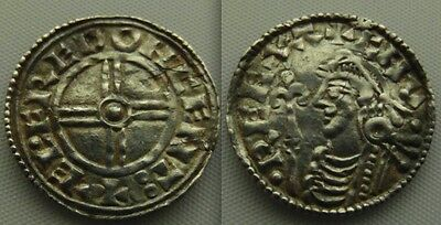 Nice Anglo Saxon, silver Hammered King Cnut coin, Short Cross type Penny . VF +