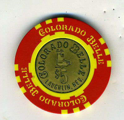 Old 5 Dollar Poker Chip from the Colorado Belle Casino Laughlin Nevada