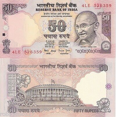 INDIA 50 Rupees Banknote World Money Mahatma Gandhi BILL p91f 1997 Note Currency