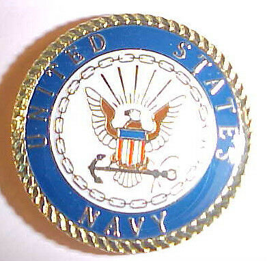 "Navy ""  UNITED STATES NAVY "" 1 1/8 inch round - Lapel pin,Tie Tack,Hat pin"