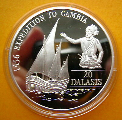 1993 Gambia Large Silver Proof  Portuguese Discovery 1456 25 D