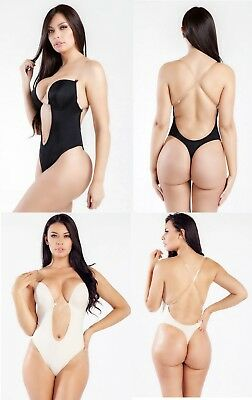 6db63d3f14 Deep Plunge Convrt Clear Strap Ultra Low Backless Push Up Thong Full Body  Shaper