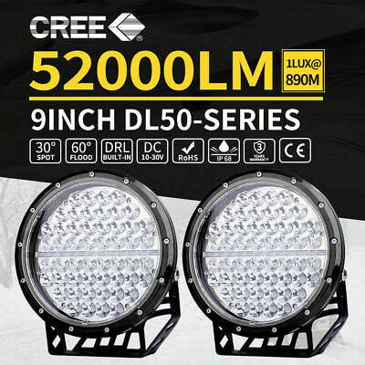 Pair 9inch LED CREE ROUND Driving Spot Work Lights Spotlights Offroad SUV 4x4