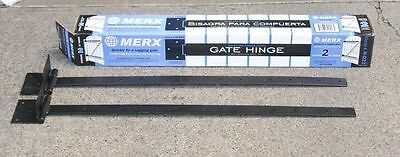 "Long 36"" Heavy Duty Large Merx Gate Hinges Galvanized Black Strap Hinge DIY Pair"
