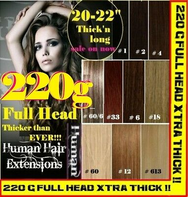 CLIP IN REMY HUMAN HAIR EXTENSIONS - Brown Blonde Black FULL HEAD EXTRA THICK