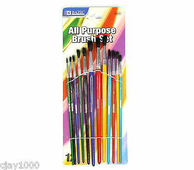12Pc Paint Brush Set High Quality Black Goat Hair Water Colour