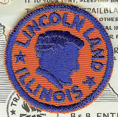 """LMH PATCH Woven Badge ABRAHAM  LINCOLN LAND ILLINOIS Silhouette Honest Abe  2"""""""