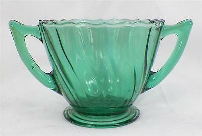 Swirl Depression Glass Sugar Bowl Ultramarine Jeannette Footed Handled NICE COND