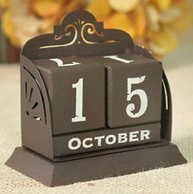 Classic Vintage French Country Perpetual Calendar Month Date Brown White Letters