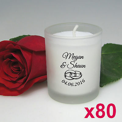 80x Personalised Favours Wedding Bomboniere Votive Candles in Bulk w/ Gift Boxes