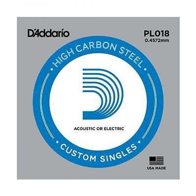 5 X D'ADDARIO PLAIN STEEL SINGLE GUITAR PL018.Electric or Acoustic 5 Pack
